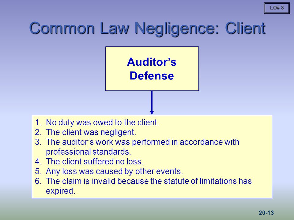 Common Law Negligence: Client