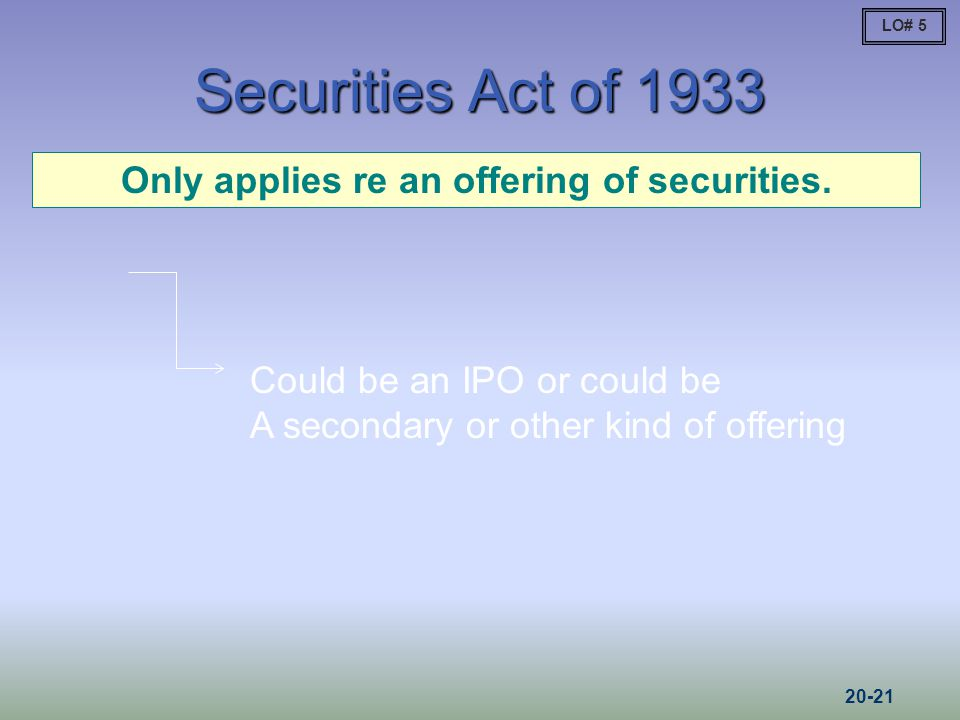 Only applies re an offering of securities.