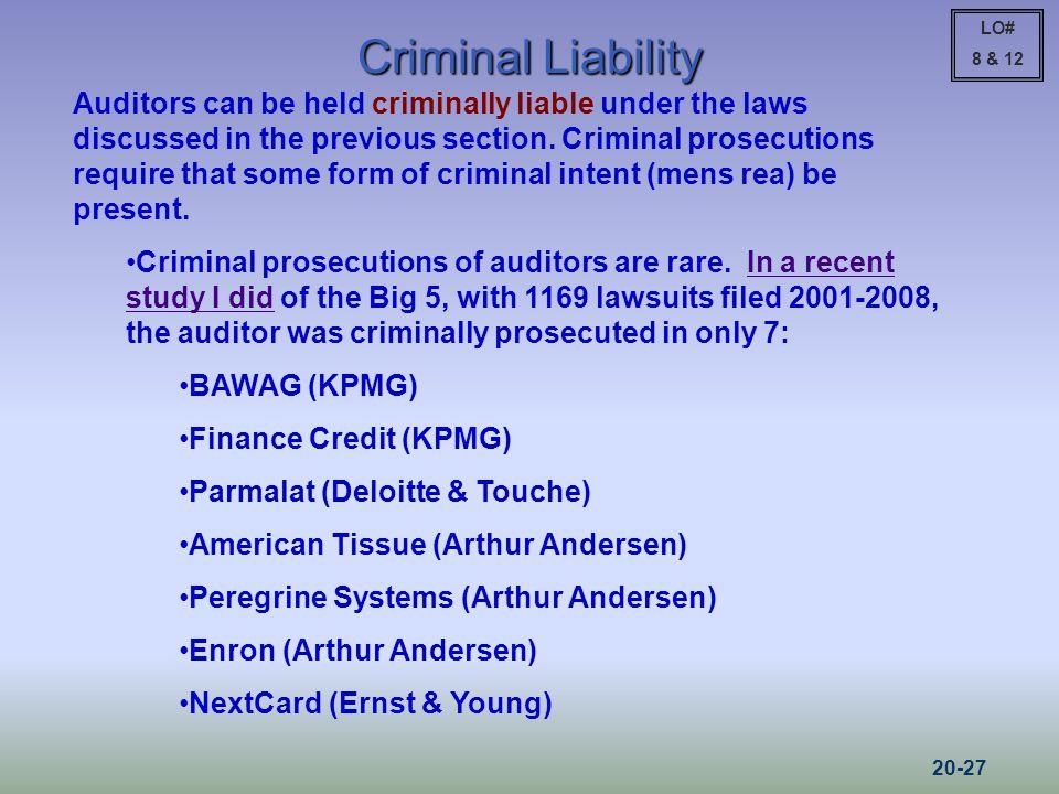 LO# 8 & 12. Criminal Liability.