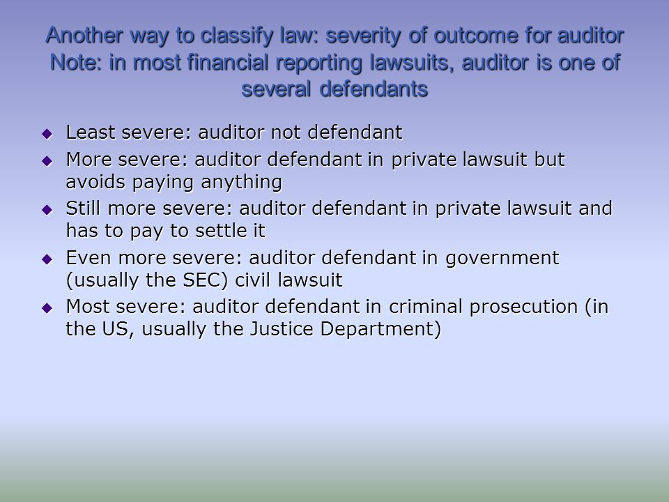 Another way to classify law: severity of outcome for auditor Note: in most financial reporting lawsuits, auditor is one of several defendants