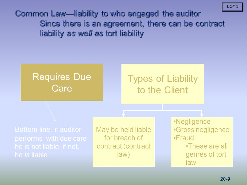 Types of Liability to the Client