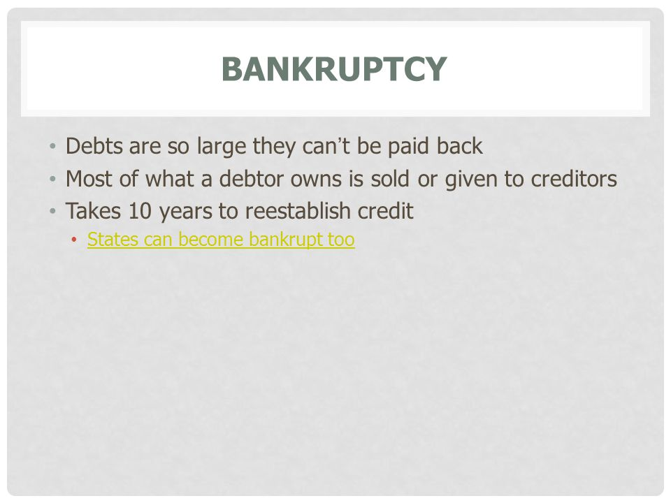 Bankruptcy Debts are so large they can't be paid back