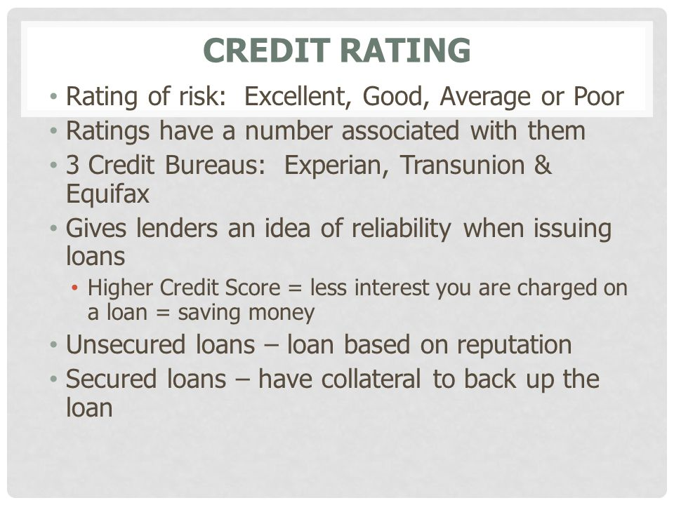 Credit Rating Rating of risk: Excellent, Good, Average or Poor