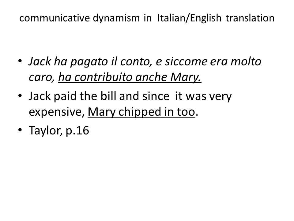 communicative dynamism in Italian/English translation