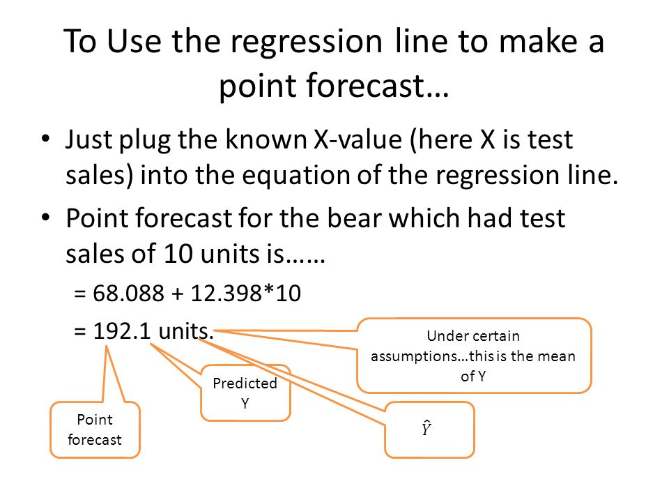 To Use the regression line to make a point forecast…