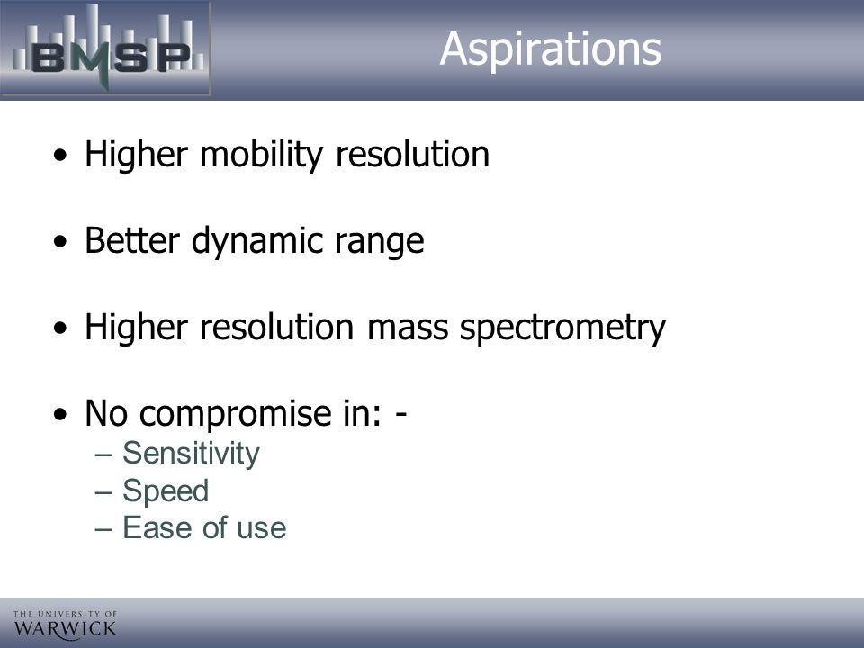 Aspirations Higher mobility resolution Better dynamic range