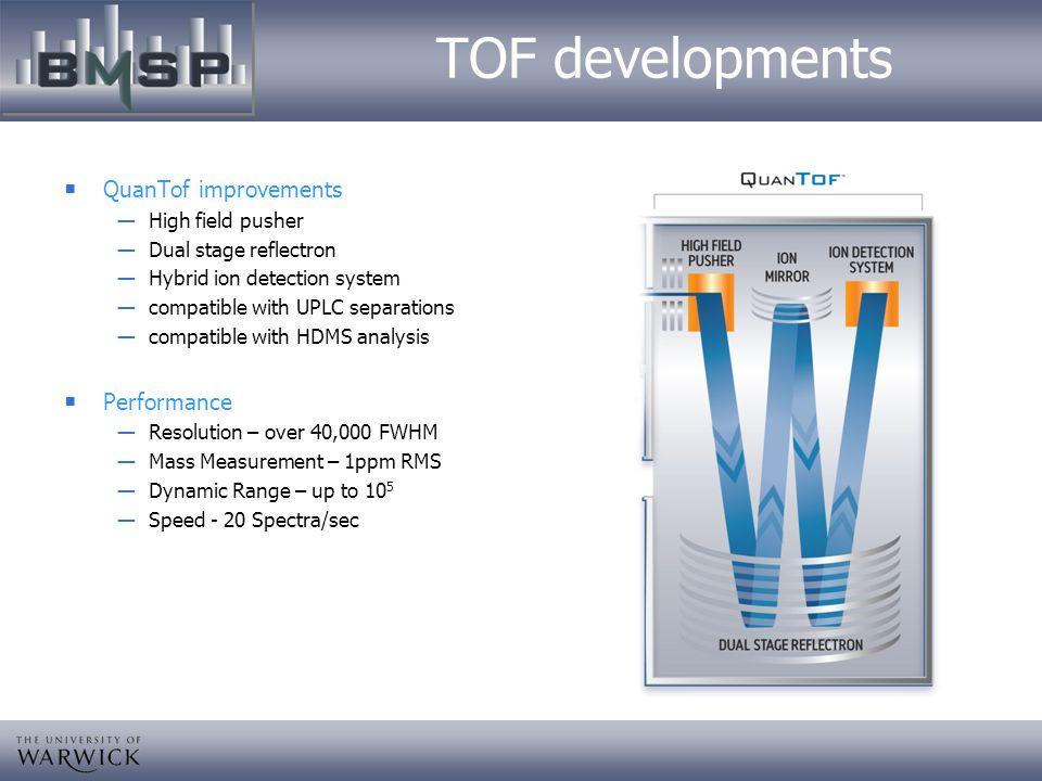 TOF developments QuanTof improvements Performance High field pusher
