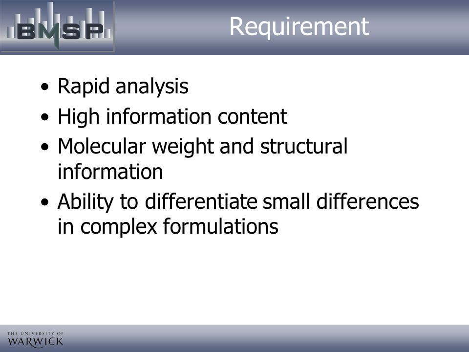 Requirement Rapid analysis High information content
