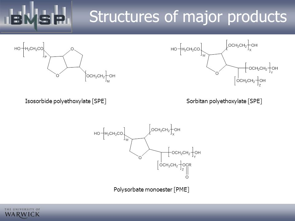 Structures of major products