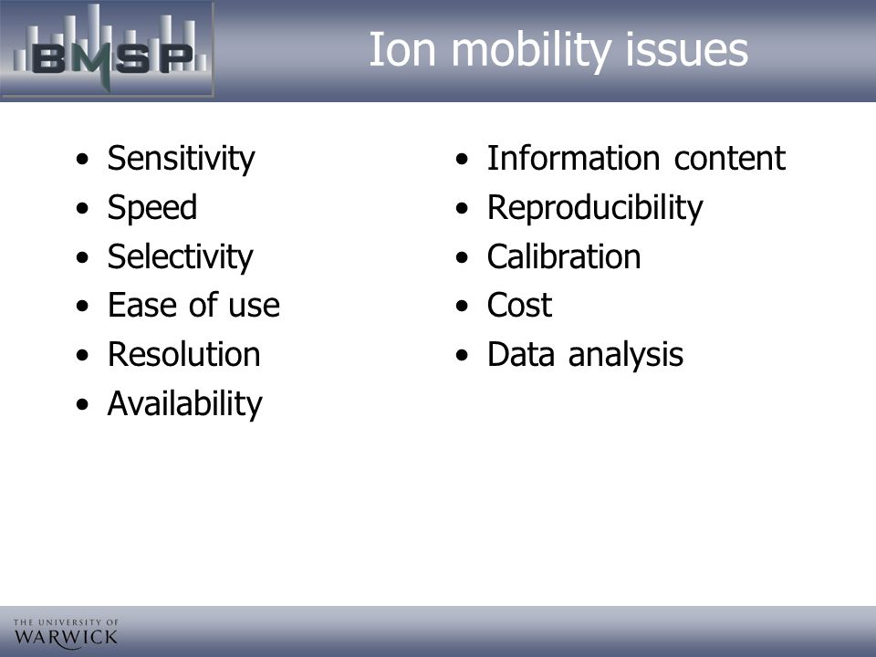 Ion mobility issues Sensitivity Speed Selectivity Ease of use