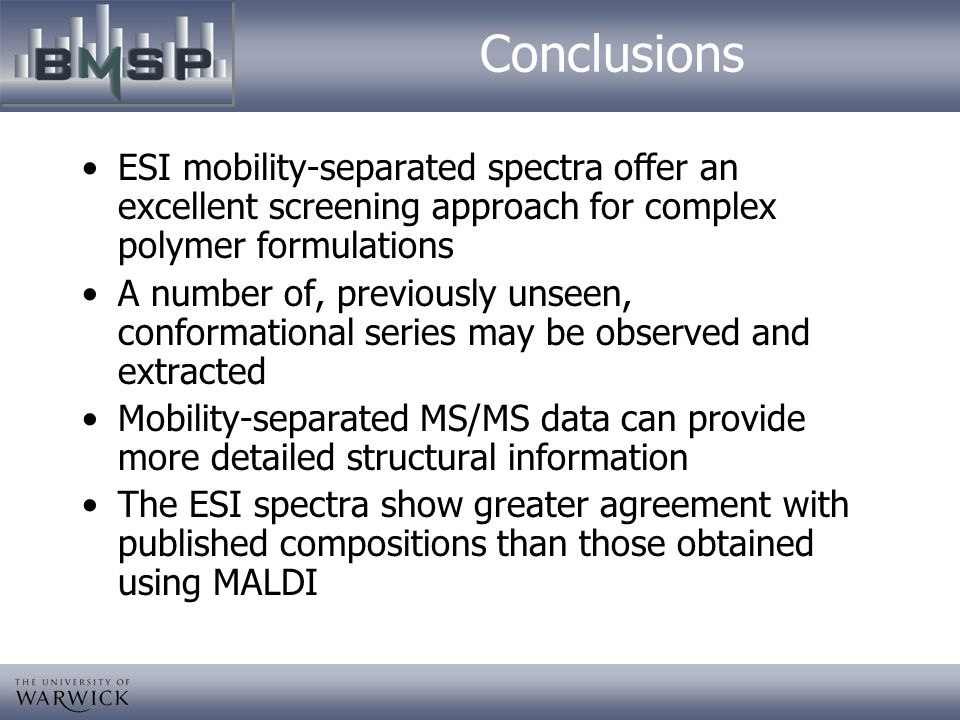 Conclusions ESI mobility-separated spectra offer an excellent screening approach for complex polymer formulations.