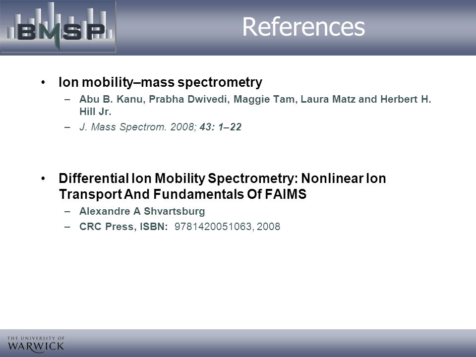 References Ion mobility–mass spectrometry