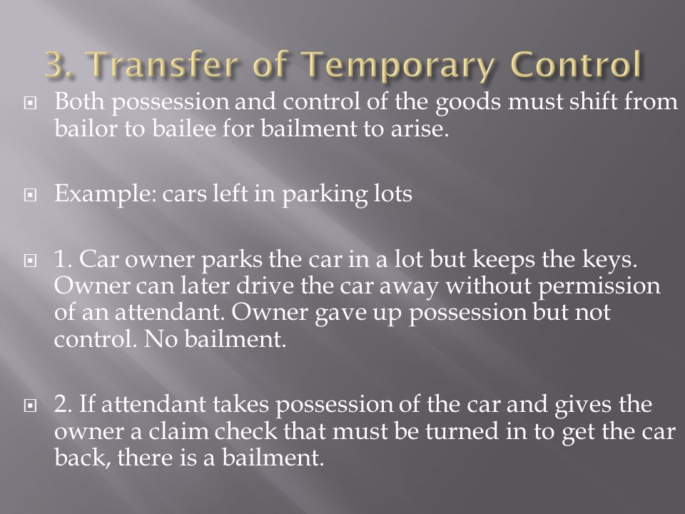 3. Transfer of Temporary Control