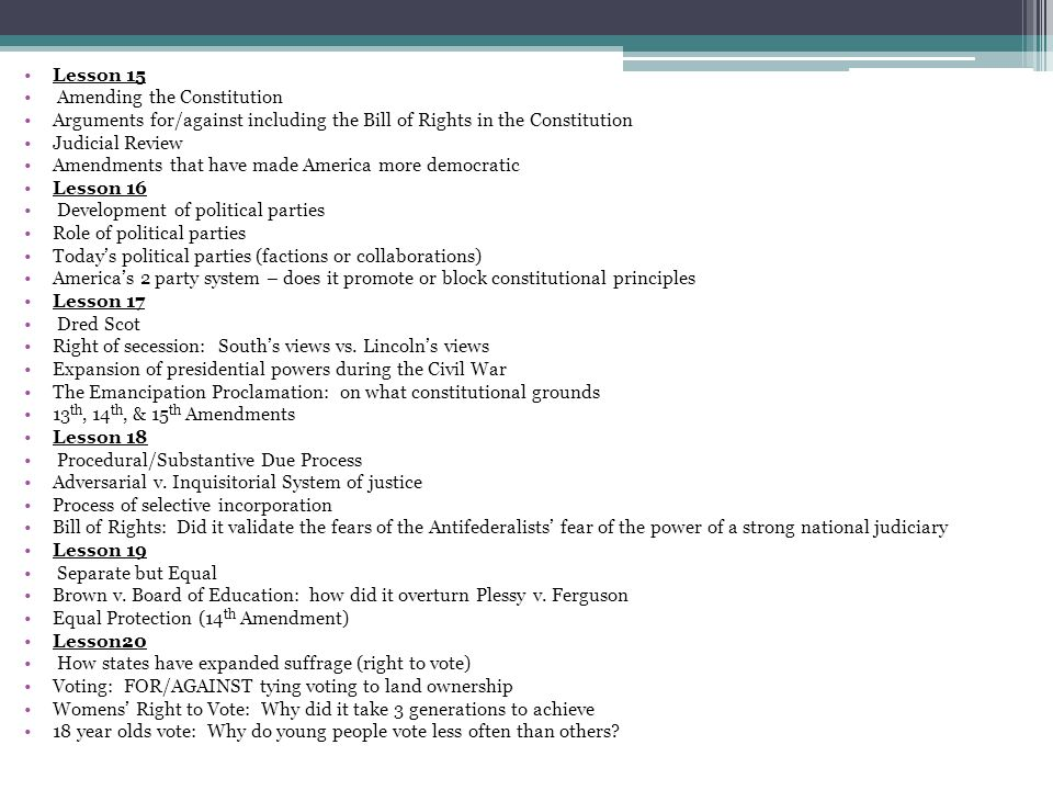 Lesson 15 Amending the Constitution. Arguments for/against including the Bill of Rights in the Constitution.