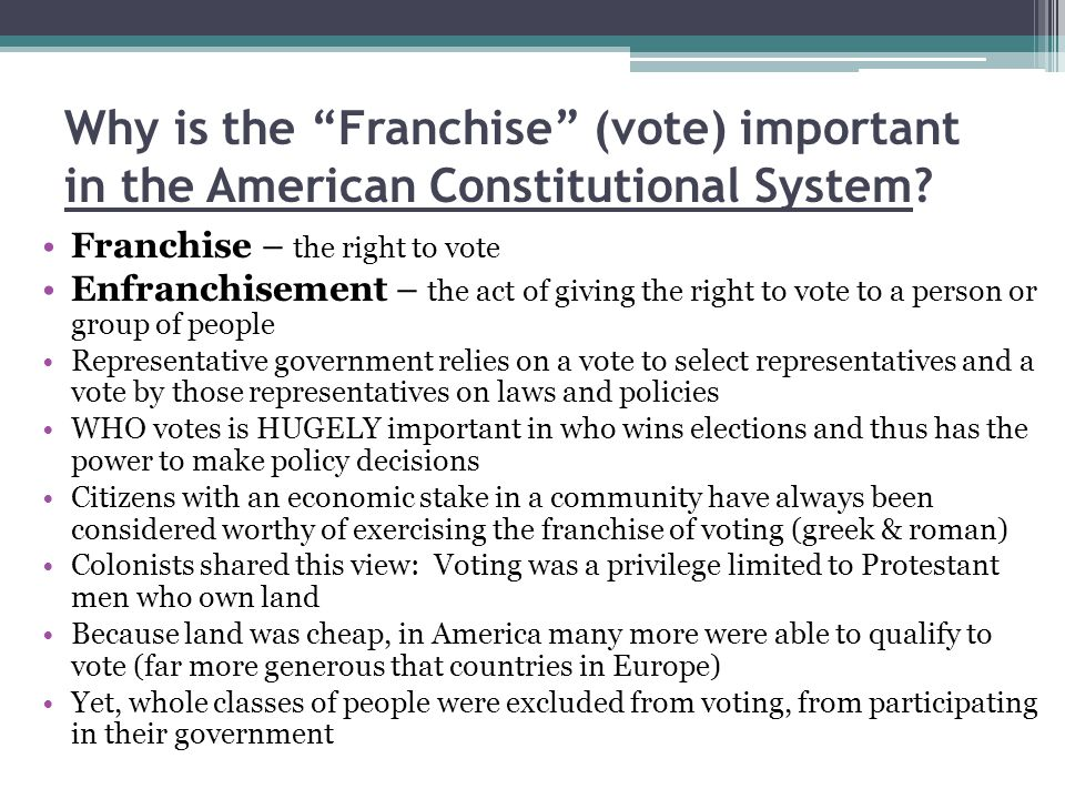 Why is the Franchise (vote) important in the American Constitutional System