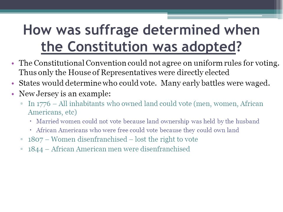 How was suffrage determined when the Constitution was adopted