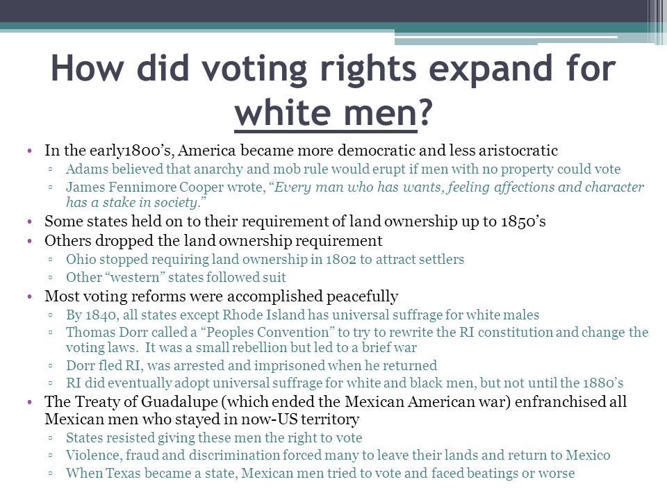 How did voting rights expand for white men