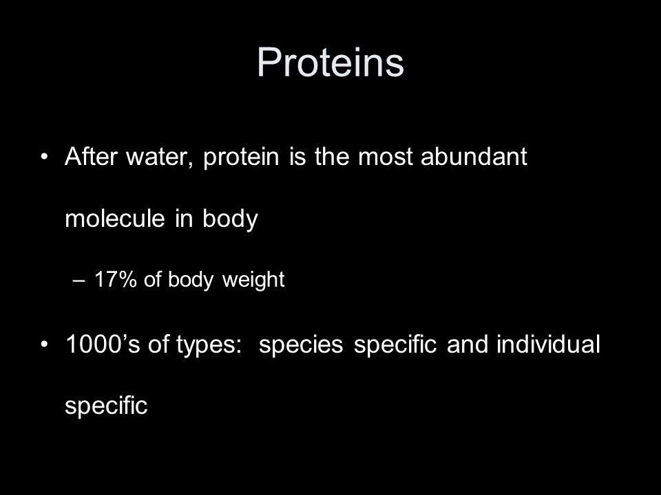 Proteins After water, protein is the most abundant molecule in body