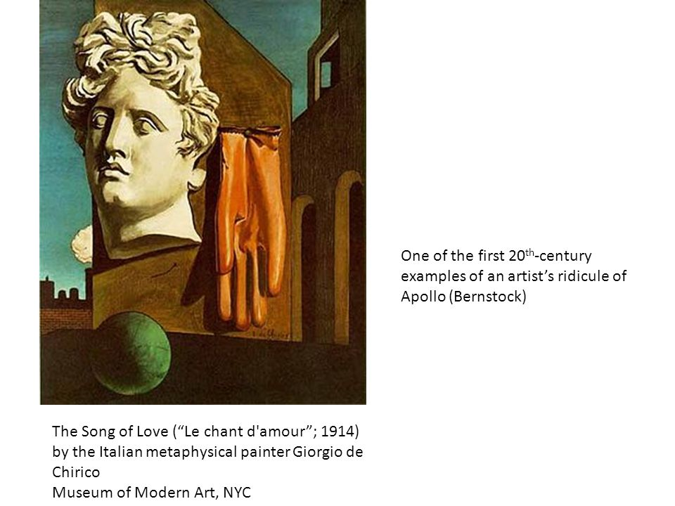 One of the first 20th-century examples of an artist's ridicule of Apollo (Bernstock)