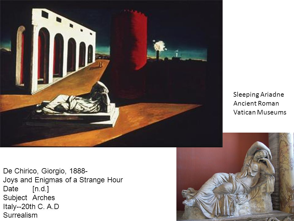 Sleeping Ariadne Ancient Roman. Vatican Museums. De Chirico, Giorgio, 1888- Joys and Enigmas of a Strange Hour.