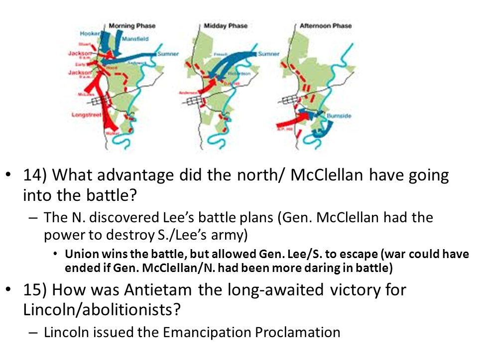 14) What advantage did the north/ McClellan have going into the battle