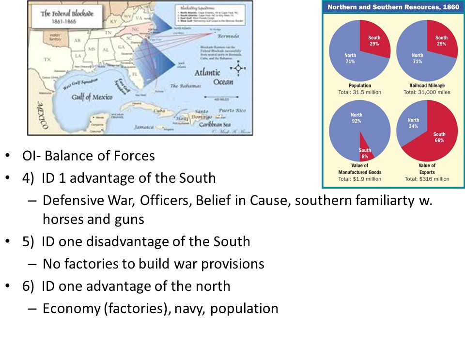 OI- Balance of Forces 4) ID 1 advantage of the South. Defensive War, Officers, Belief in Cause, southern familiarty w. horses and guns.