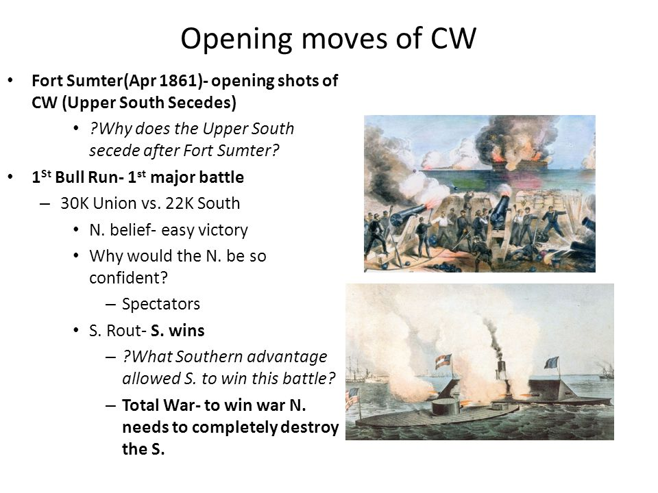 Opening moves of CW Fort Sumter(Apr 1861)- opening shots of CW (Upper South Secedes) Why does the Upper South secede after Fort Sumter