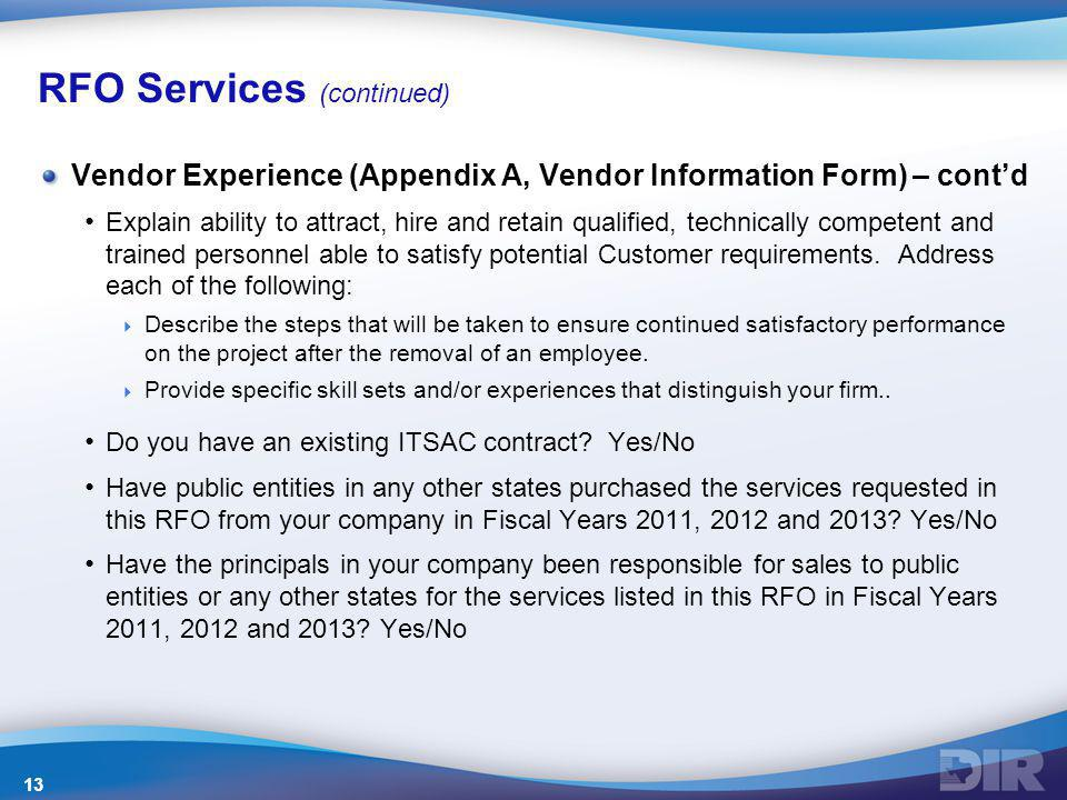 RFO Services (continued)