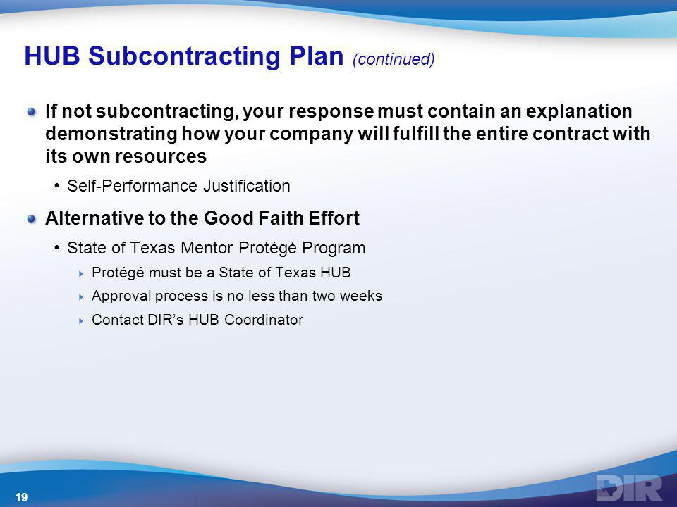 HUB Subcontracting Plan (continued)