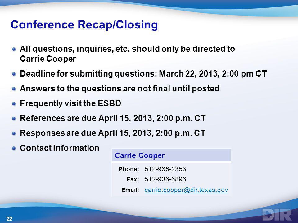 Conference Recap/Closing