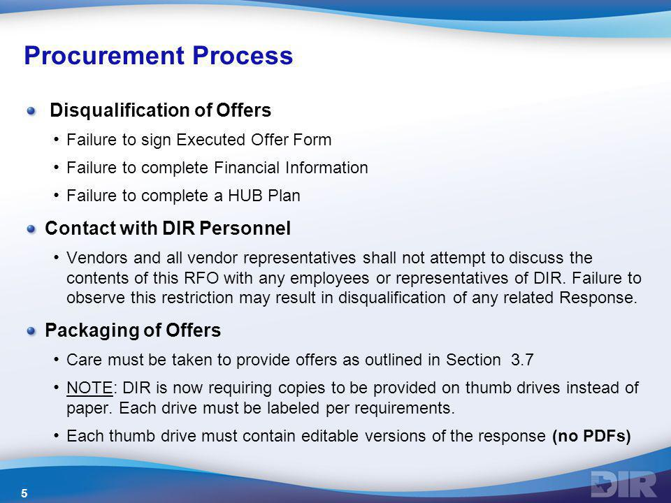 Procurement Process Disqualification of Offers