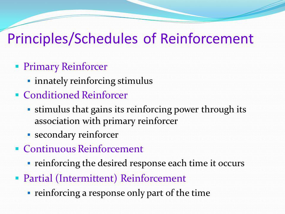 Principles/Schedules of Reinforcement