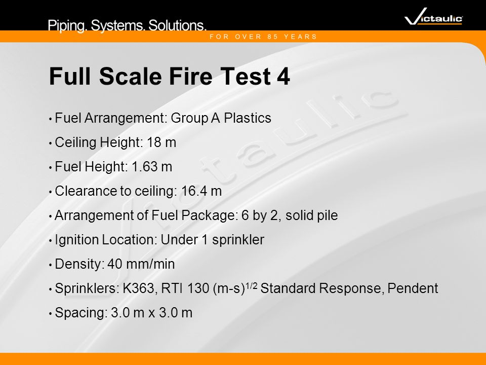 Full Scale Fire Test 4 Fuel Arrangement: Group A Plastics