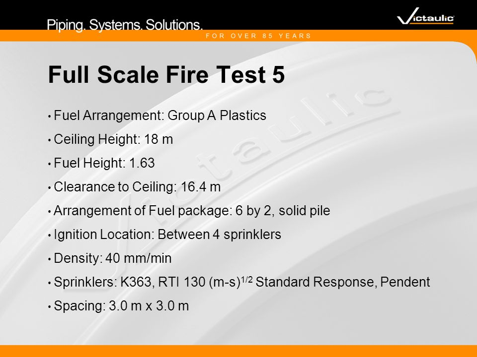 Full Scale Fire Test 5 Fuel Arrangement: Group A Plastics