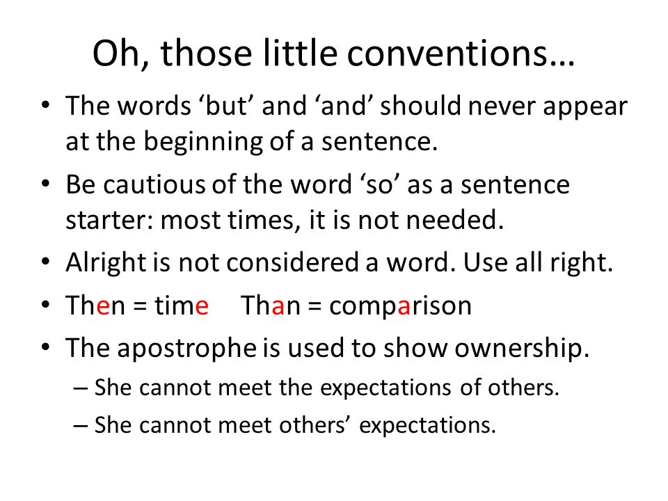 Oh, those little conventions…