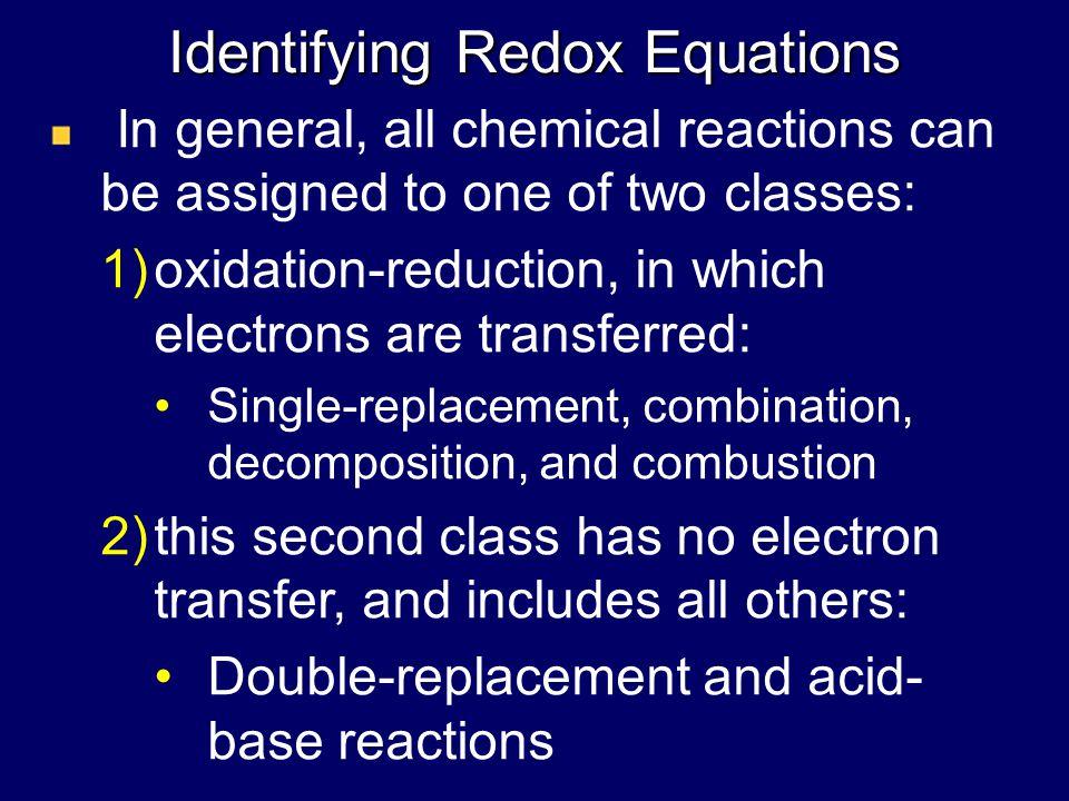 Identifying Redox Equations