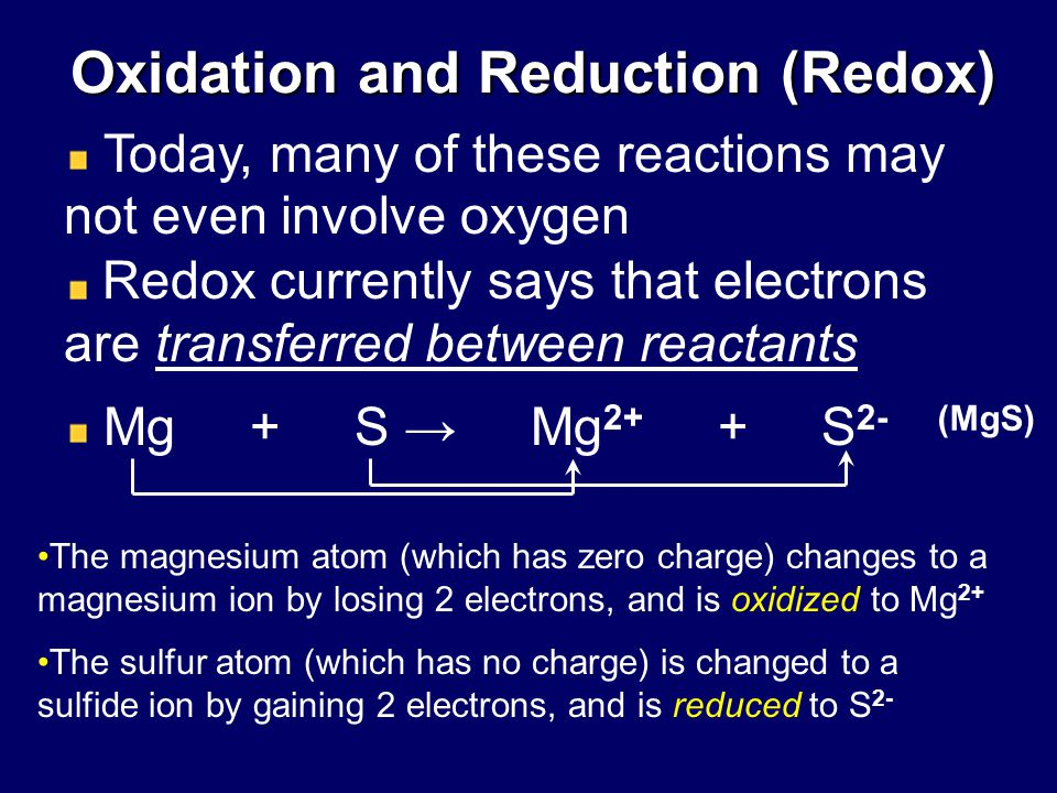 oxidation and reduction Oxidation and reduction are key concepts in electrochemistry chemistry involving oxidation and reduction is typically referred to as redox chemistry oxidation involves the loss of electrons from a species and reduction involves the gain of electrons.