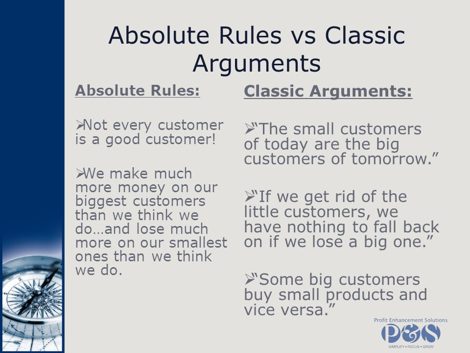 Absolute Rules vs Classic Arguments