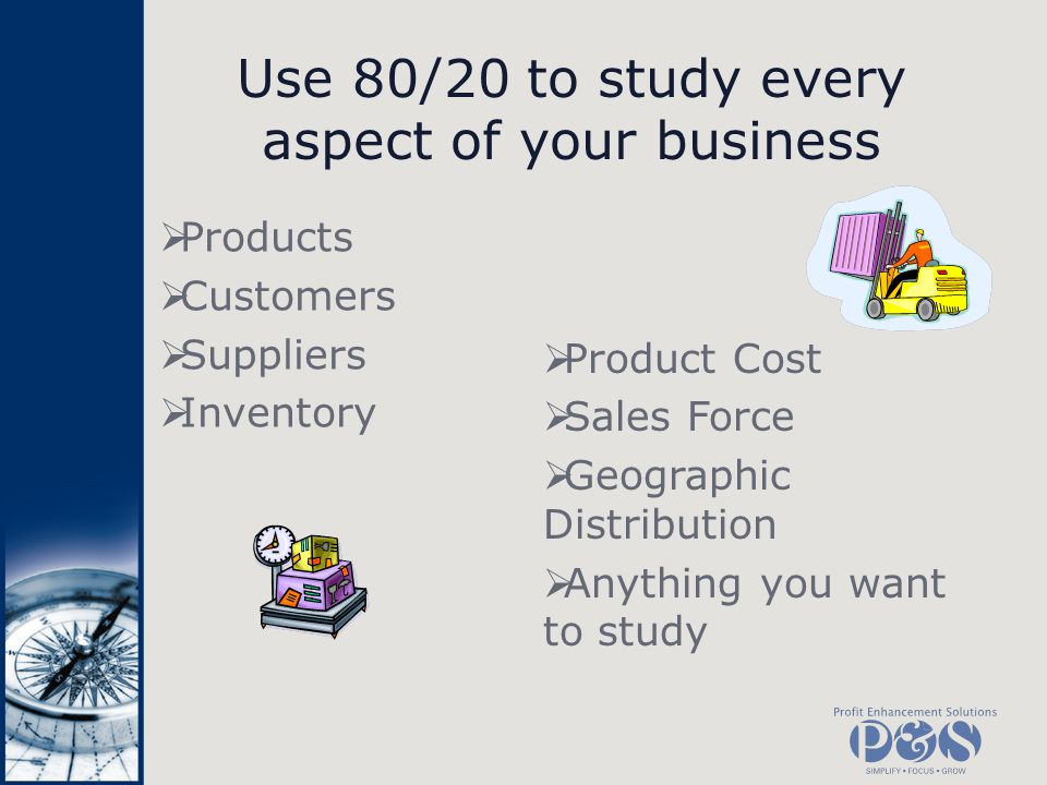 Use 80/20 to study every aspect of your business