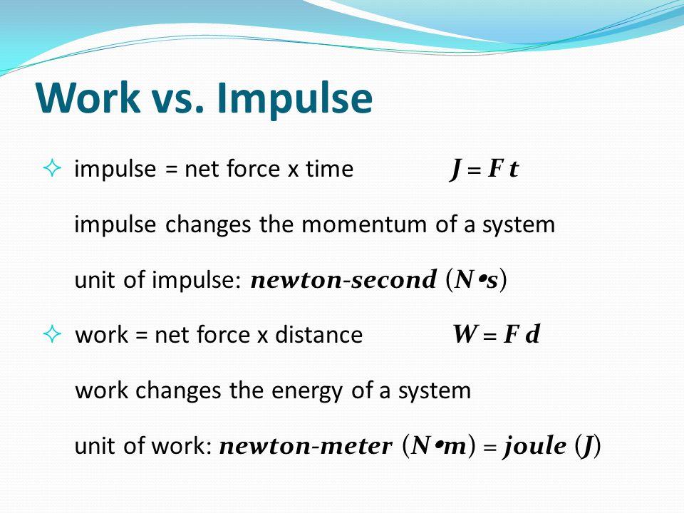 Work vs. Impulse impulse = net force x time J = F t