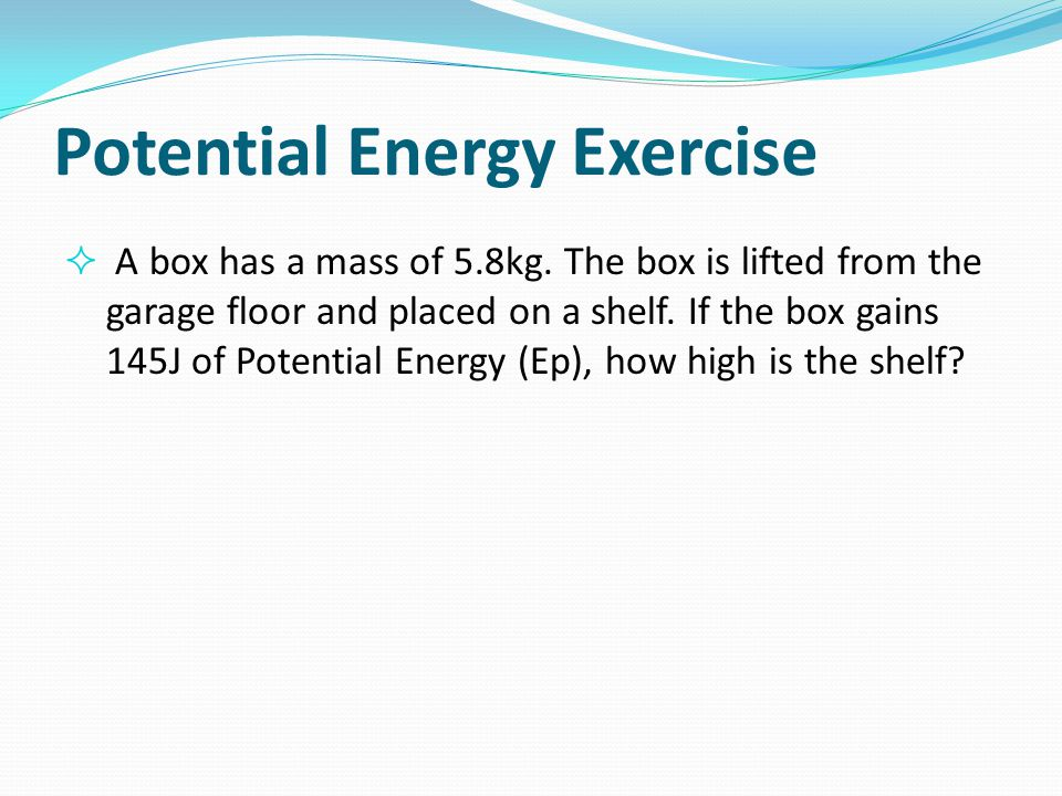 Potential Energy Exercise