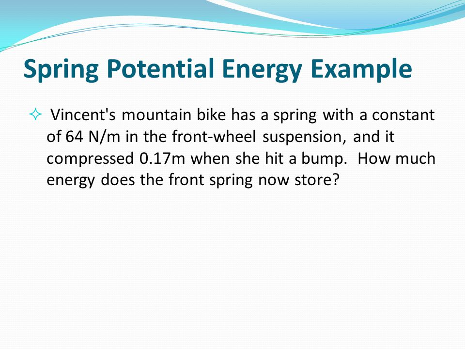 Spring Potential Energy Example