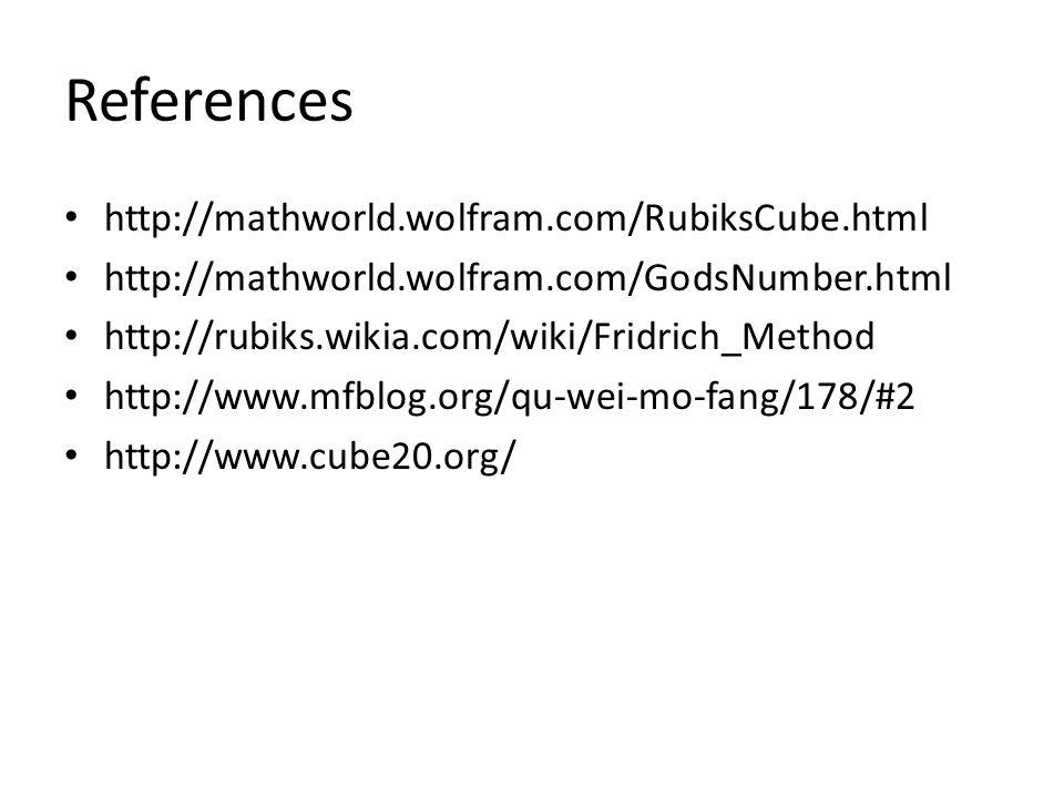 References http://mathworld.wolfram.com/RubiksCube.html
