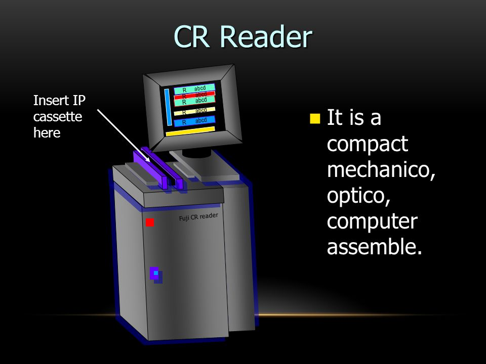 CR Reader It is a compact mechanico, optico, computer assemble.