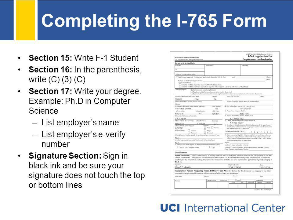 Completing the I-765 Form Section 15: Write F-1 Student