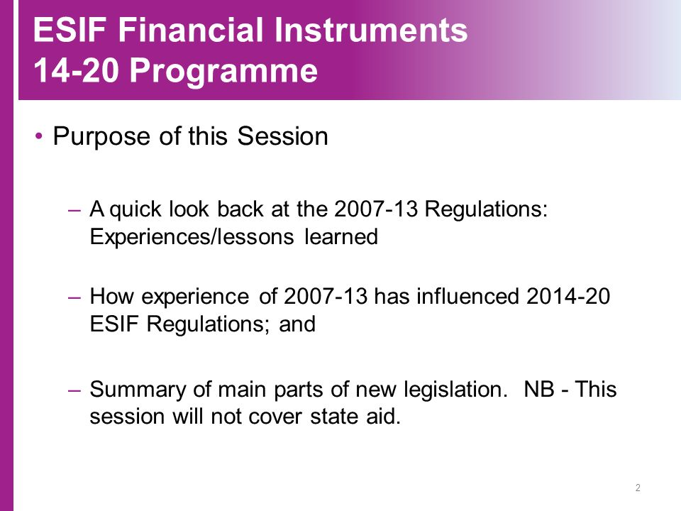 ESIF Financial Instruments 14-20 Programme