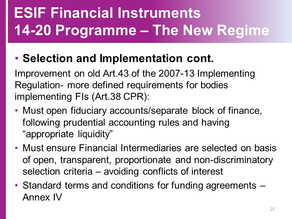 ESIF Financial Instruments 14-20 Programme – The New Regime