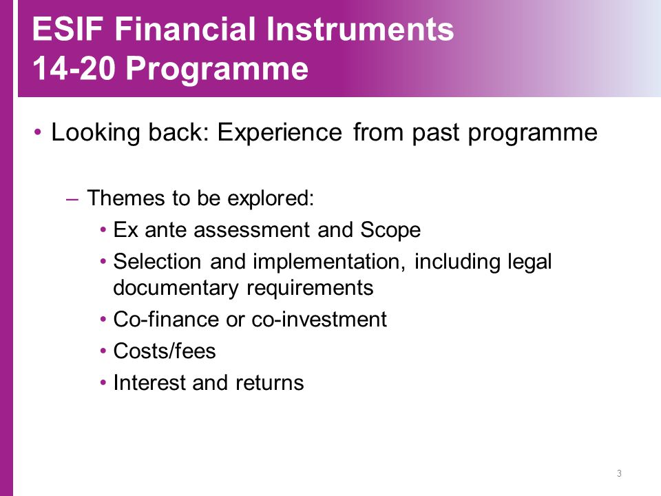 ESIF Financial Instruments 14-20 Programme