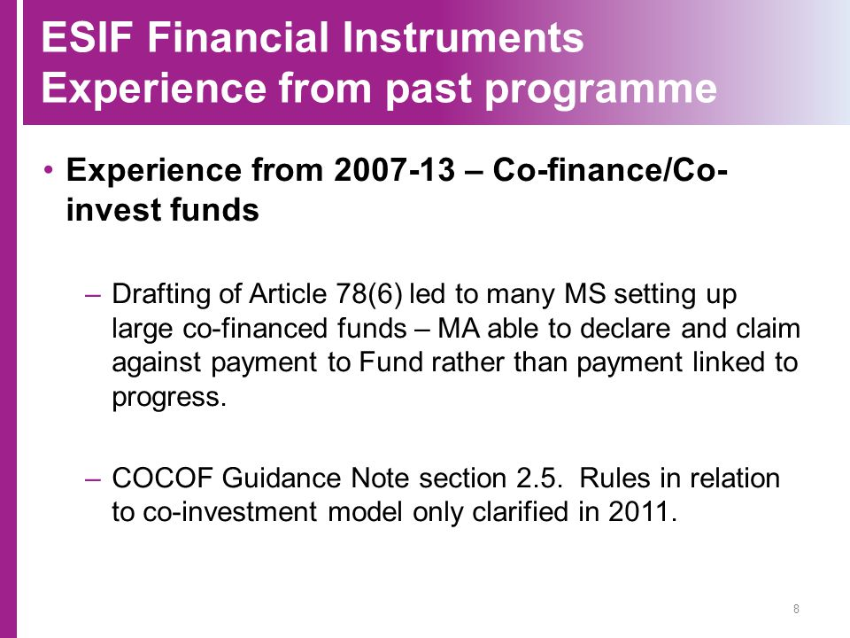 ESIF Financial Instruments Experience from past programme