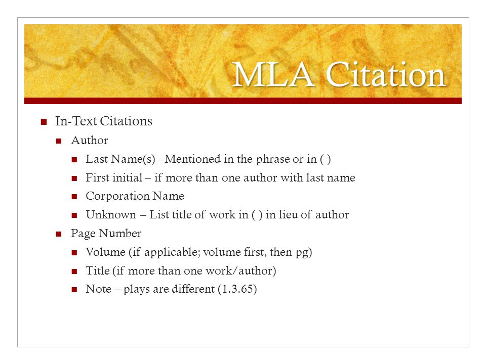 MLA Citation In-Text Citations Author